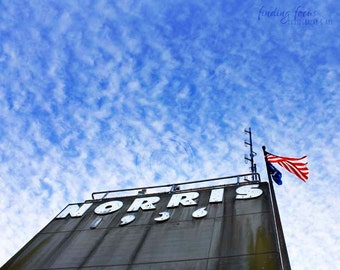 Norris Photography, Tennessee Dam State Park Print, Norris Lake Tower Photo, American Flag, Cobalt Blue Bright Sky Wispy Clouds Travel Art