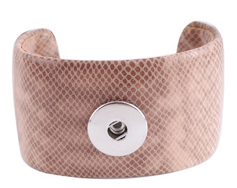 "1 Bangle Bracelet - 7"" Pinkish Brown Leather Fits 18MM Candy Snap Charm kc0013 CJ0449"