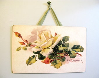 Vintage Yellow Cream Rose Wall Picture Board Catherine Klein Reproduction 16X10 Victorian Shabby Cottage Nursery French Decor