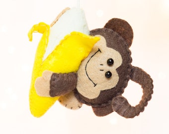 Felt Monkey Ornament with Banana