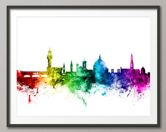 Florence Skyline, Florence Italy Cityscape Art Print (2444)