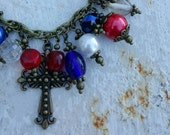 Red, White and Blue Charm Necklace Boho Jewelry Antique Bronze Cross 4th of July Jewelry