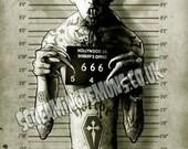 Vampire, Low brow Art, Horror Art, Mugshot Art, Arrested Art Print hand Signed by Marcus Jones 16.5 x 11.7 inches