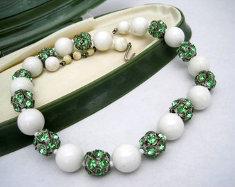 Green Rhinestone Choker -  White Bead  Necklace