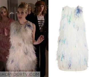 Scream Queens inspired White Ostrich Feather Shift Dress