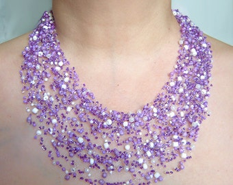 Purple air necklace. Multistrand necklace. Beadwork necklace