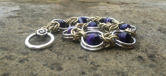 Purple Striped Agate Faceted Chainmaille Bracelet