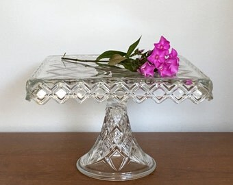 Vintage Glass Cake Stand Square Pressed Glass Dessert Cake Stand Plate Holiday Wedding Serving