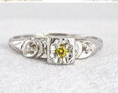 VALENTINES DAY SALE Art Deco Rare Canary Yellow Diamond 14k White Gold Illusion Setting Engagement Ring Wedding Ring 1920s Promise Ring