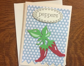 Pepper Greeting Card, Vegetable Harvest Card, Peppers Vegetable Art Card, Paper Handmade Greeting Card, Gardener Gift, Country Garden