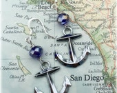 US Navy bead and anchor  Earrings by Son and Sea FREE US shipping