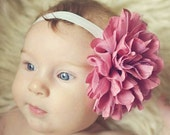 Dusty Rose & Cream Headband  - Flower Girl Newborn Baby Infant Toddler - Wedding Lace Chiffon Flower - dark pink ivory