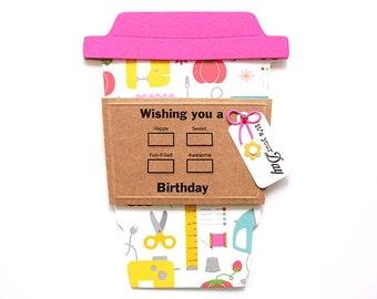 Happy BIRTHDAY Seamstress Latte Gift Card Holder