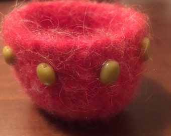 Coral Felted Wool Bowl with Glass Beads