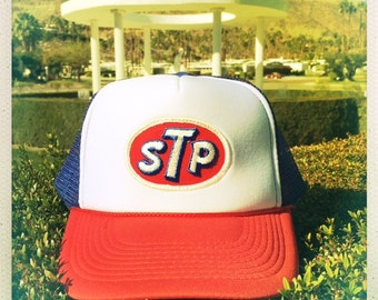 Awesome STP Vintage 70s Patch stitched on Red, White & Blue Snapback Trucker Cap / Hat