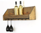Wood Wine Rack, Wine and Glass Rack Shelf, Wine Glass Holder, Gifts for Wine Lovers
