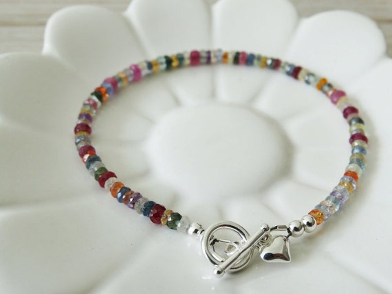 Rainbow Sapphire & Silver Bracelet With Heart - Sterling Silver