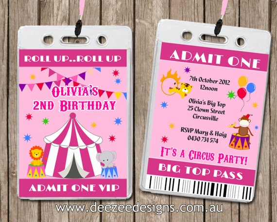 Circus Carnival Themed VIP Lanyard Birthday Invitations x 10 by