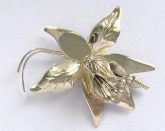 "2.5"" Taxco Sterling Silver Orchid Brooch.  Better than Many Similar Brooches.  Read More.  2.75"" x 2.25""."