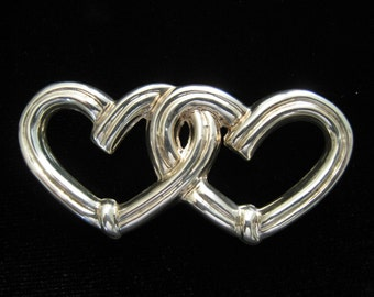SALE Joined Sterling Hearts form this Silver Vintage Brooch Marked Taxco Mexico 925