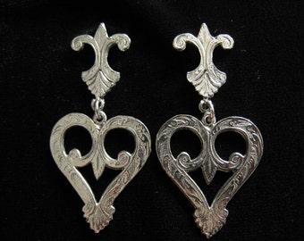 SALE Large Fleur de Lis & Heart Drop Earrings in Silver tone with Surface Design Pattern Looking Deeply Engraved.