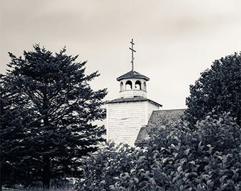 Alaska Landscape Photography, Modern, Sand Point, Church, Alaska Photo, Fine Art Photography Print, Black & White Modern Decor