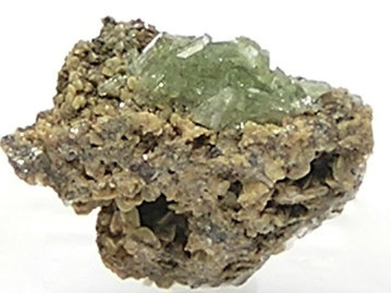 Very Rare Green Ludlamite Crystal Cluster in phosphate rock matrix,  Tiny Thumbnail Mineral Specimen,  vintage gem for the expert collector
