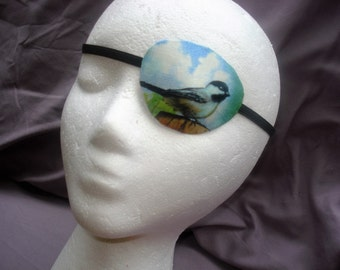 """Woman's eye patch, """"Chickadee's Song"""" handmade with 100% cotton/ vision accessory/ eye care/ cataract aid/ health & beauty/ 2 styles."""