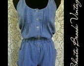 Cozy Denim Blue Cotton Romper - Short Jumpsuit Short Playsuit Short Romper - Racerback Buttondown - Denim Romper - Womens Medium Small