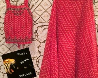 Vintage Girls Boho Indian Choli and Skirt - Punjabi Suit 2-Piece Dress - Beads Sequins - Ethnic Party Dress Sari Saree - Size 26 Kids 6 7 8