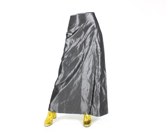 90s METALLIC Silver Iridescent Holographic Shiny High Waist Maxi Skirt