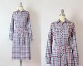 vintage 60s plaid dress / 1960s plaid shirt dress / long sleeved cotton dress / belted shift dress / Fall Semester dress