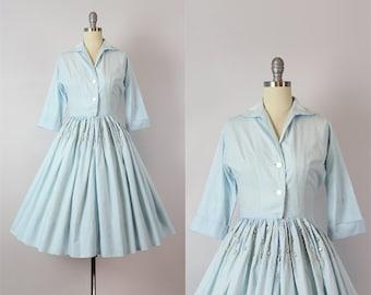 vintage 50s dress / 1950s cotton soutache dress / pearlized studded snap dress / western dress / periwinkle blue white dress