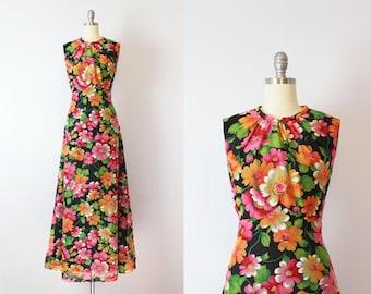 vintage 70s floral maxi dress / 1970s dark floral dress / floral chiffon maxi dress / floaty floral dress / empire waist maxi dress