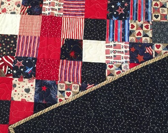 Americana Red/White/Blue 48 x 68 large lap quilt
