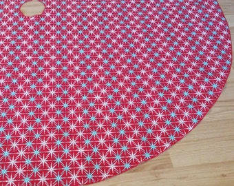 "Digital Snowflake 55"" Tree Skirt - Red Teal White Christmas Decor, Free Shipping, Made in USA"