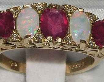 9K Yellow Gold Ruby, Colorful Opal with Eight Diamond Large Eternity Ring,  Scroll Carving Vintage Design Ring