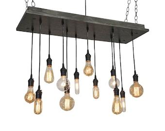 Industrial Chandelier With Nostalgic Bulbs - Kitchen Island Light, Bar Lighting, Restaurant Lighting, Office Lighting- UL Listed
