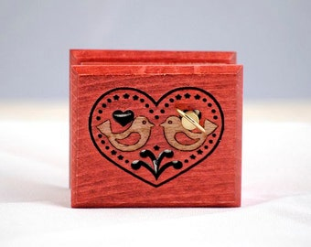 Heart love birds red music box wooden tribal folk ethnic ornament Blue Danube Waltz Strauss