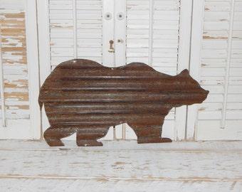 Rusty Metal Bear Wall Art Rustic Log Cabin Decor Country Home Decor