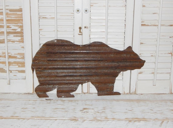Rusty metal bear wall art rustic log cabin decor country home for Rustic bear home decor