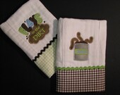 Boy Burp cloths, set of 2 personalized burp cloths; dirt and worms burp cloths