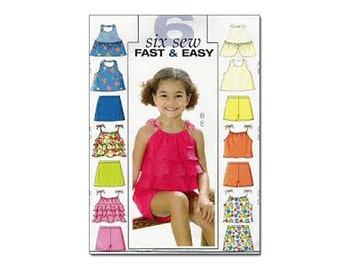 Butterick 4503 Size 2-3-4-5 Summer Tops and Shorts for Little Girls, Toddlers