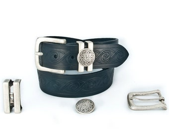 Wide Celtic belt with Concho keeper