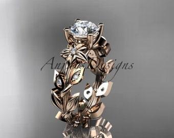 14k rose gold diamond floral wedding ring,engagement ring ADLR215
