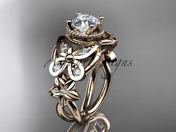 14kt rose gold diamond floral, butterfly wedding ring, engagement ring ADLR136