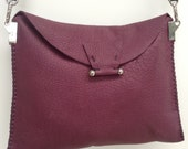 One-off handstitched medium size soft thick burgundy purple leather crossbody bag