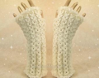 Santa Fingerless Chunky Knitting Cable Hand Warmers Christmas Xmas Soft Sheep Merino Mohair wool of White ready to ship