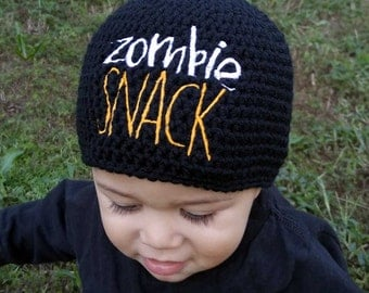 Zombie Snack Hat - Funny Baby Clothes - Geek Gift - Funny Beanie - Zombie Baby - Baby Winter Hat - Crochet Hat - Funny Baby Shower