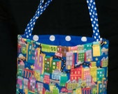 City, Blue Dots Activity Bag with a Ton of Activities Included.  Cotton with 2 Long Carry Straps, Large Pockets, Batting, Super Soft, FUN!!